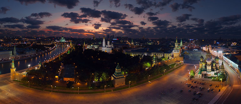 Moscow Kremlin at Night - AirPano.com • 360� Aerial Panorama • 3D Virtual Tours Around the World