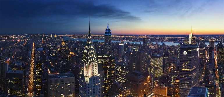 Sunset and Dusk Time View of Manhattan, New York, USA - AirPano.com • 360° Aerial Panoramas • 360° Virtual Tours Around the World