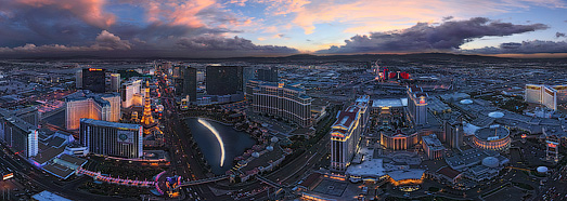 ARCHIVE. Luminous Las Vegas at Dusk and Night  - AirPano.com • 360 Degree Aerial Panorama • 3D Virtual Tours Around the World