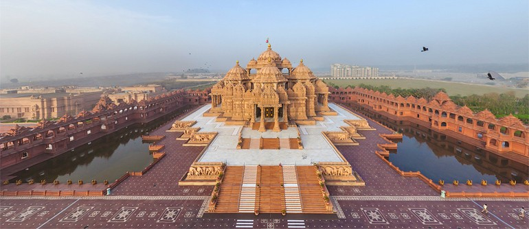 Swaminarayan Akshardham, Delhi, India - AirPano.com • 360° Aerial Panoramas • 360° Virtual Tours Around the World