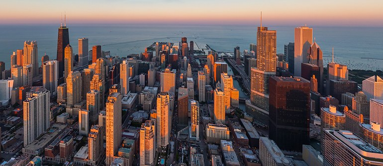 Chicago Illinois USA Aerial Panoramas Virtual Tours - Us word map illionis
