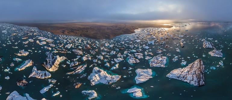 Iceland, Jokulsarlon Ice Lagoon - AirPano.com • 360° Aerial Panoramas • 360° Virtual Tours Around the World