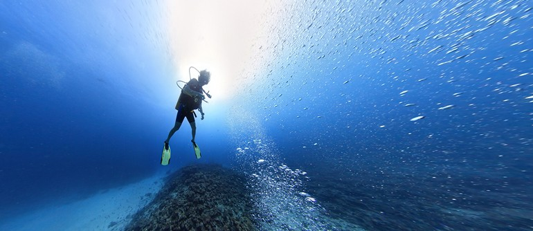 Underwater Shooting on the Maldives. Divers - AirPano.com • 360° Aerial Panoramas • 360° Virtual Tours Around the World