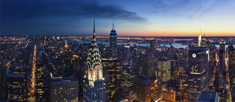 Sunset and Dusk Time View of Manhattan, New York, USA - AirPano.com • 360° Aerial Panoramas • 360° Virtual Tours Around the World