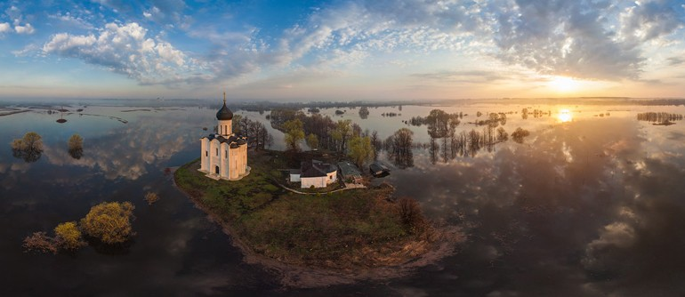 Church of the Intercession of the Holy Virgin on the Nerl River, Russia - AirPano.com • 360° Aerial Panoramas • 360° Virtual Tours Around the World