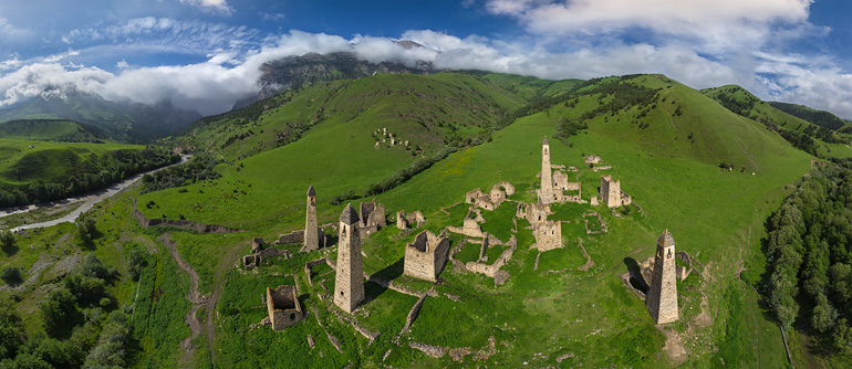 Old Watch Towers, Ingushetia, Russia - AirPano.com • 360° Aerial Panoramas • 360° Virtual Tours Around the World