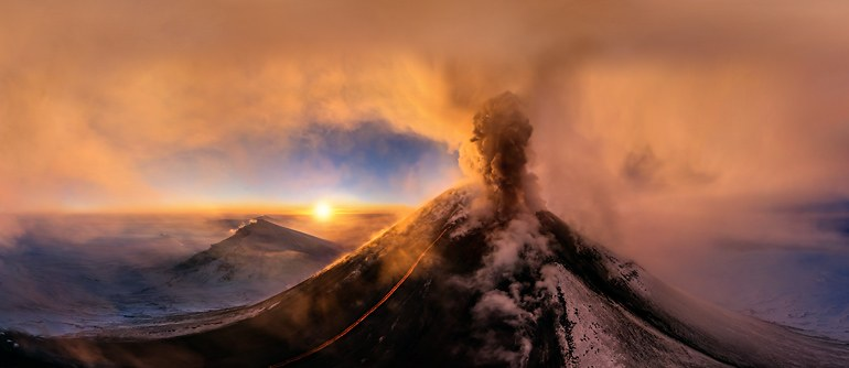 Volcano Klyuchevskaya Sopka, Kamchatka, Russia, 2015 - AirPano.com • 360° Aerial Panoramas • 360° Virtual Tours Around the World