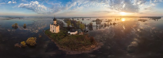 Церковь Покрова на Нерли, разлив рек Клязьма и Нерль - AirPano.ru • 360 Degree Aerial Panorama • 3D Virtual Tours Around the World
