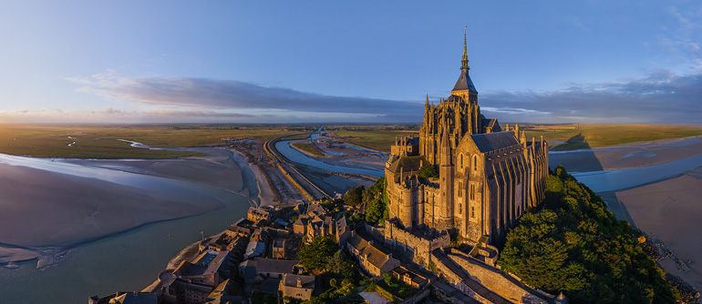 Abbey Mont Saint-Michel, France - AirPano.com • 360� Aerial Panorama • 3D Virtual Tours Around the World