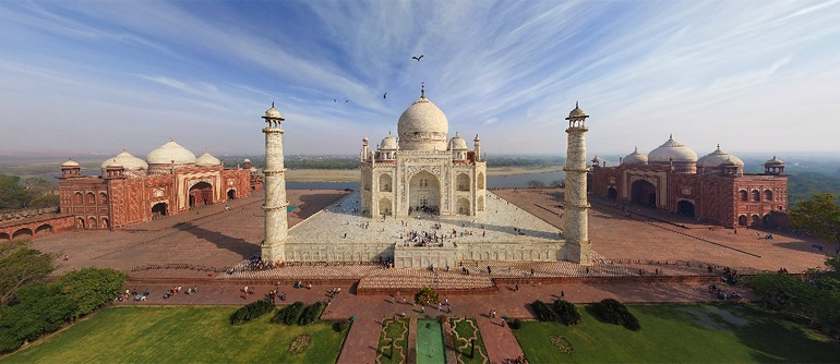 Taj Mahal, India - AirPano.com • 360 Degree Aerial Panorama • 3D Virtual Tours Around the World